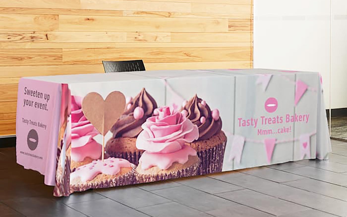 custom trade show tablecloth with logo